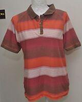 Fat Face Mens Polo Shirt Size Small S Brown Orange White Collar button Tshirt