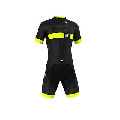 PRO Short Sleeve /'Giallo Nero/' Cycling Road Suit Made in Italy by GSG Skinsuit