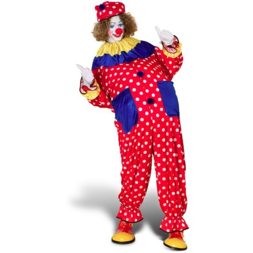 Clown Costume Adult 3 Pc Red /& White Polka Dot Jumpsuit Collar /& Hat One Size