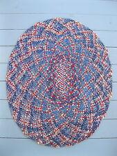 "Vintage Rag Rug, Oval Primitive Braided, Red, White, Blue, 36"" x 30"""""