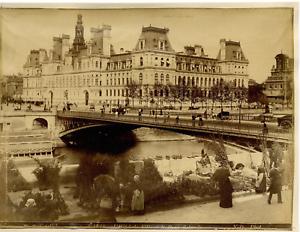 ND-France-Paris-L-039-Hotel-de-Ville-Vintage-albumen-print-Tirage-albumin