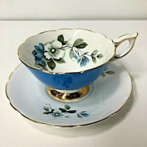 Royal Stafford Blue Rose White Flower Gold Trim Bone China Tea cup & Saucer Rare