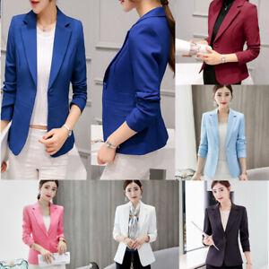Damas-Mujeres-Manga-Larga-Slim-formales-OL-traje-de-Abrigo-Chaqueta-Informal-Blazer-Abrigos