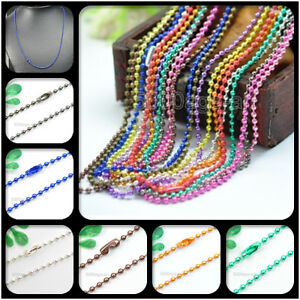 U-Pick-28Inch-Ball-Chain-Necklace-2-4mm-bead-connector-12Color-wholesale