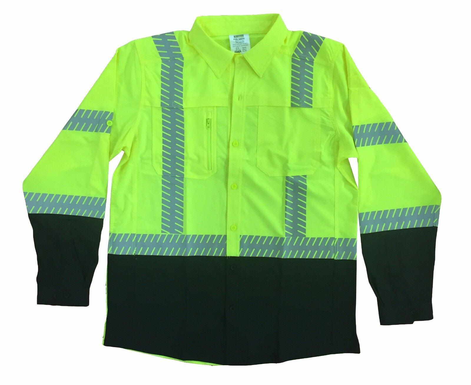Class 3 Hi-Viz Lime Grün Foreman Work Shirts With Collar Reflective Long Sleeve