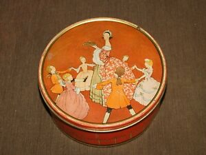 "VINTAGE KITCHEN 7 1/2"" ACROSS UNEEDA VICTORIAN DANCERS BISCUIT COOKIE  TIN"