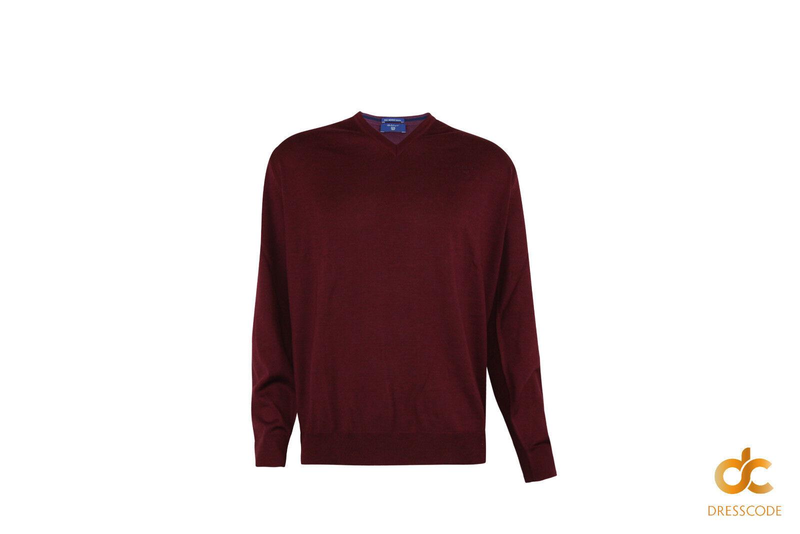 GANT Pullover Merinowolle Herren V-Ausschnitt Bordeauxrot 2XL 3XL 4XL Übergroßen