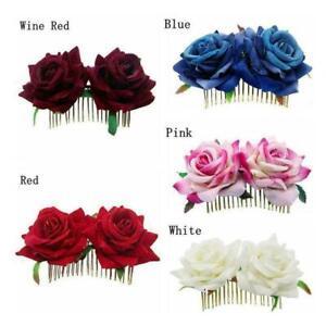 Bridal-Boho-Rose-Flower-Hair-Comb-Clip-Hairpin-Wedding-Accessories-Ha-Party-P4O1