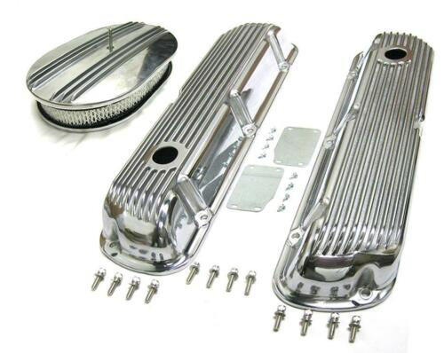 "SBF Ford 289 302 351w Finned Retro Aluminum Valve Covers /& 12/"" Air Cleaner Kit"