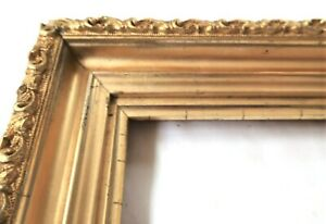 SM-Antique-Fit-7X-9-034-Lemon-Gold-Gilt-Picture-Frame-Wood-Gesso-Fine-Art-MINIATURE