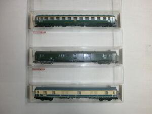 3-Fleischmann-Personenwagen-Gepaeckwagen-8102-8151-8190-OVP-Spur-N