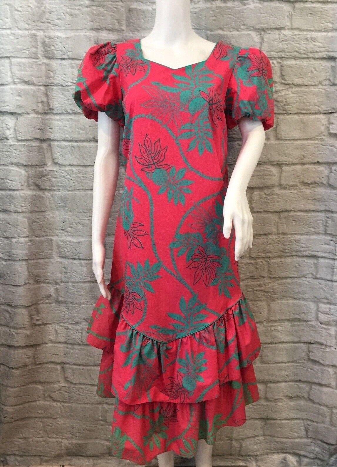 Hilo Hattie Sz 8 Hawaiian Floral Ruffle Puffy Sleeve CRISP Fabric Dress