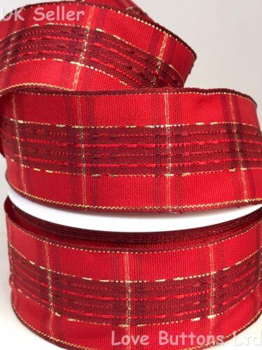 40 mm de ancho con Cable rojo y oro Tartán Navidad Cinta 1 M longitudes