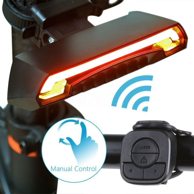 Bicycle Bike Rear LED Tail Light Wireless USB Remote Control Turn Signals Light,