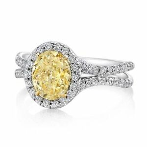 925-Sterling-Silver-Oval-Fancy-Yellow-Diamond-Halo-Engagement-amp-Wedding-Ring