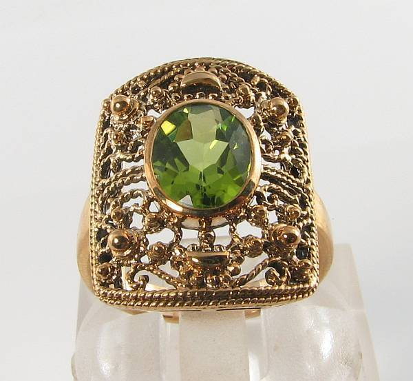 BIG 9K 9CT gold AFRICAN PERIDOT ART DECO INS SOLITAIRE RING FREE RESIZE