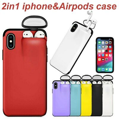 2 In 1 Silicone Phone Case With Airpods Box Back Cover For Iphone