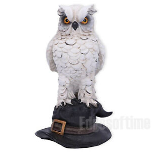 SOREN-WHITE-HORNED-OWL-GUARDIAN-WITCHES-SPELL-MAGIC-HAT-FIGURINE-ORNAMENT-15CM