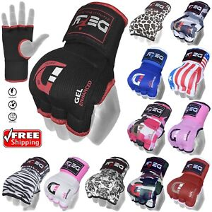 DEFY-Gel-Padded-Inner-Gloves-with-Hand-Wraps-MMA-Muay-Thai-Boxing-Fight-PAIR