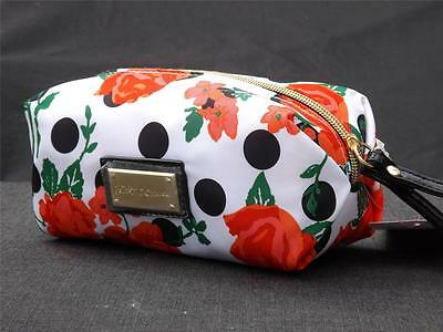 NWT Betsy Johnson White Polka Dot Flower Floral Boxed Wristlet Cosmetic Bag