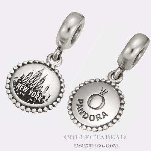 Authentic Pandora Silver Dangle New York City Destination Bead USB791169-G051