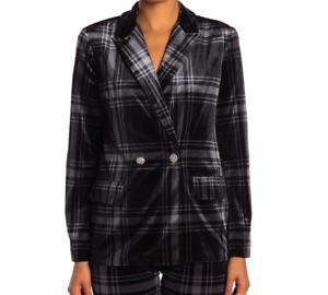 Laundry-By-Shelli-Segal-Womens-Size-10-Plaid-Velvet-Blazer-Jacket-Black-Gray