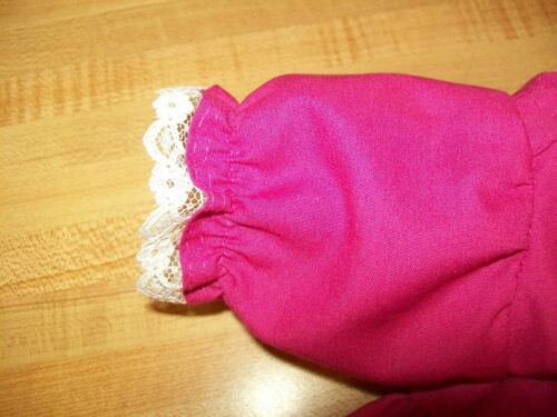 """ribbon flower trims for 16/"""" CPK Cabbage Patch Kids DRESS Rose Red Pink w//lace"""
