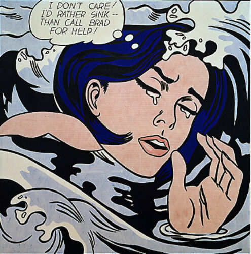 """Roy Lichtenstein  Large vintage  Canvas  24/""""  art print painting drowning woman"""