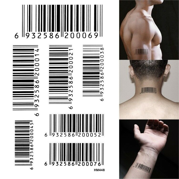 Hitman Agent 47 Bar Code Upc Props Tattoo Water Proof Temporary