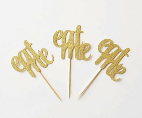 "ALICE IN WONDERLAND ""EAT ME"" GLITTER CUPCAKE TOPPERS GIRLS BIRTHDAY PARTY"