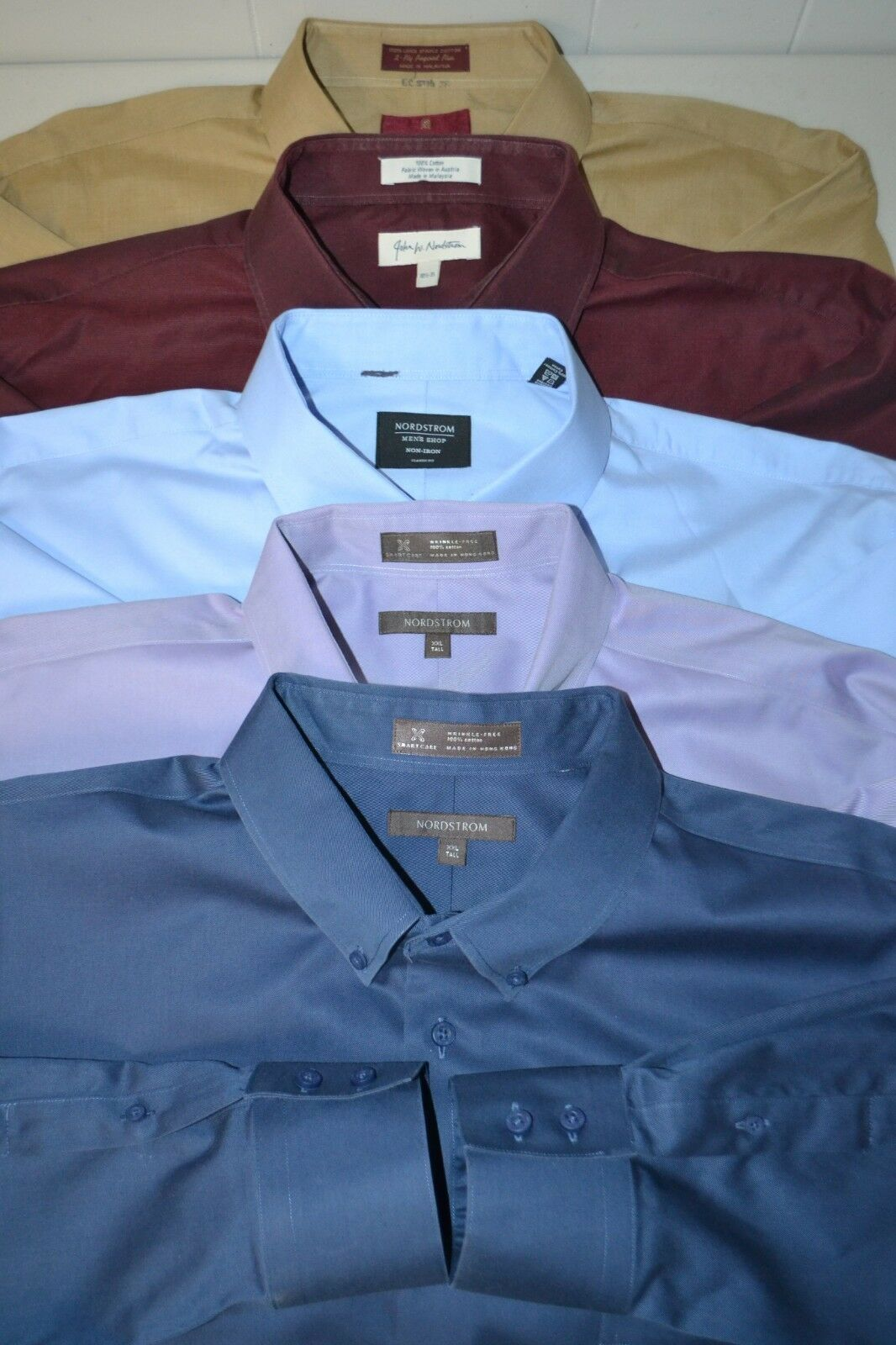 Lot of 5 Nordstrom Men's Front Button Solid colors Long Sleeve Shirt Sz 18 18.5