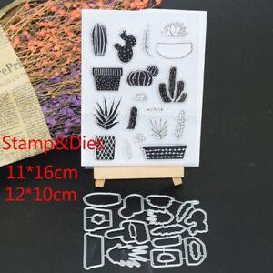 Cactus Clear Stamps Metal Cutting Dies Stencils Scrapbooking Embossing DIY New