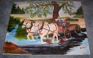FOLK ART AMERICANA LANDSCAPE COUNTRY FARM DRAFT HORSE RIVER WAGON TREES PAINTING