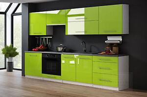 Küchenzeile Linda Lime Hochglanz 260 cm Küchenblock Einbauküche ...
