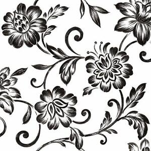 Wallpaper-Graceful-Trail-Contemporary-Jacobean-Floral-Black-Silver-on-White