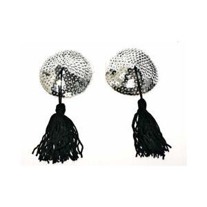Cache tétons burlesque argenté avec pompons noir