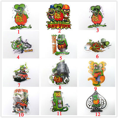 10Pcs Motorcycle Rat Fink Vinyl Vintage Ed Roth Hot Rod Big Daddy Car Stickers