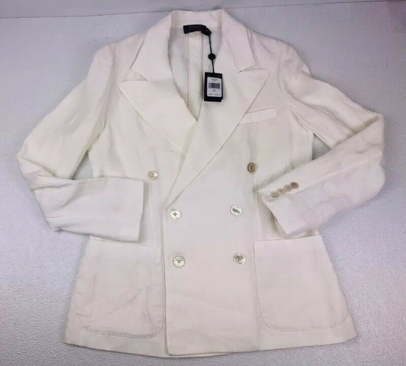 Polo Ralph Lauren Womens Double Breasted White Linen Blazer Size 8  498 Msrp