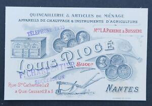 Carte De Visite PIOGE NANTES Chauffage Agriculture Charpentier Visit Card