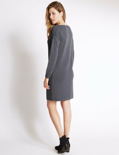 New M/&S Per Una Grey Foil Knit Long Sleeve Jumper Dress Sz UK 18