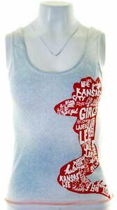 Lee-Femme-Graphique-Haut-Debardeur-Taille-12-moyen-en-coton-blanc-slim-fit-IS09