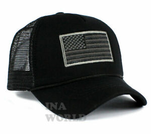 USA-American-Flag-Hat-Foam-Mesh-Trucker-Snapback-Embroidered-Baseball-Cap-Black