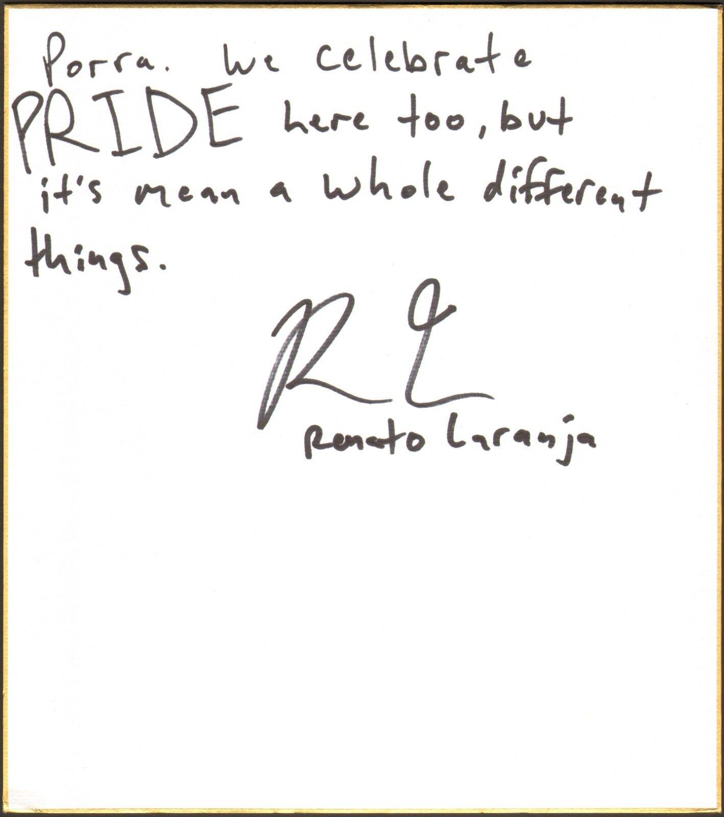 Renato Laranja Firmado Shikishi Art Board Bas COA UFC Pride Jiu-Jitsu Autógrafo