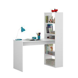Dettagli su Scrivania e tavolo per studio con libreria riversibile Bianca,  Duplo