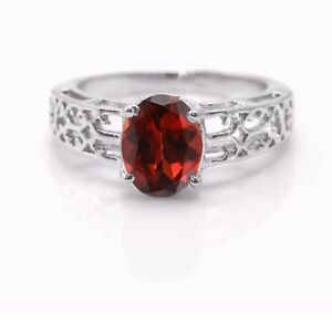 925-Sterling-Silver-Ring-Red-Garnet-Natural-Gemstone-Size-4-11