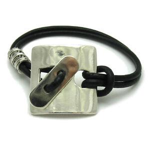 Stilvolles-Sterling-Silber-Armband-massiv-punziert-925-Naturleder-handgefertigt