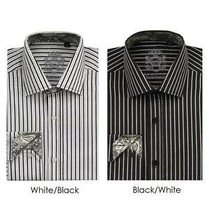 Men 39 s classic cotton striped casual dress shirt 612 color for Men s classic dress shirts