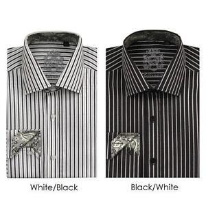 Men S Classic Cotton Striped Casual Dress Shirt 612 Black Amp White Ebay
