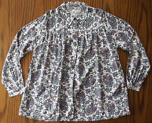 Vintage-1960s-smock-top-Ladies-blouse-UNUSED-Paisley-pattern-Medium-pink-blue-W