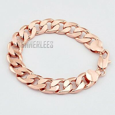 12mm Fashion Jewelry Mens Womens Curb Cuban Chain 18K Rose Gold Filled Bracelet